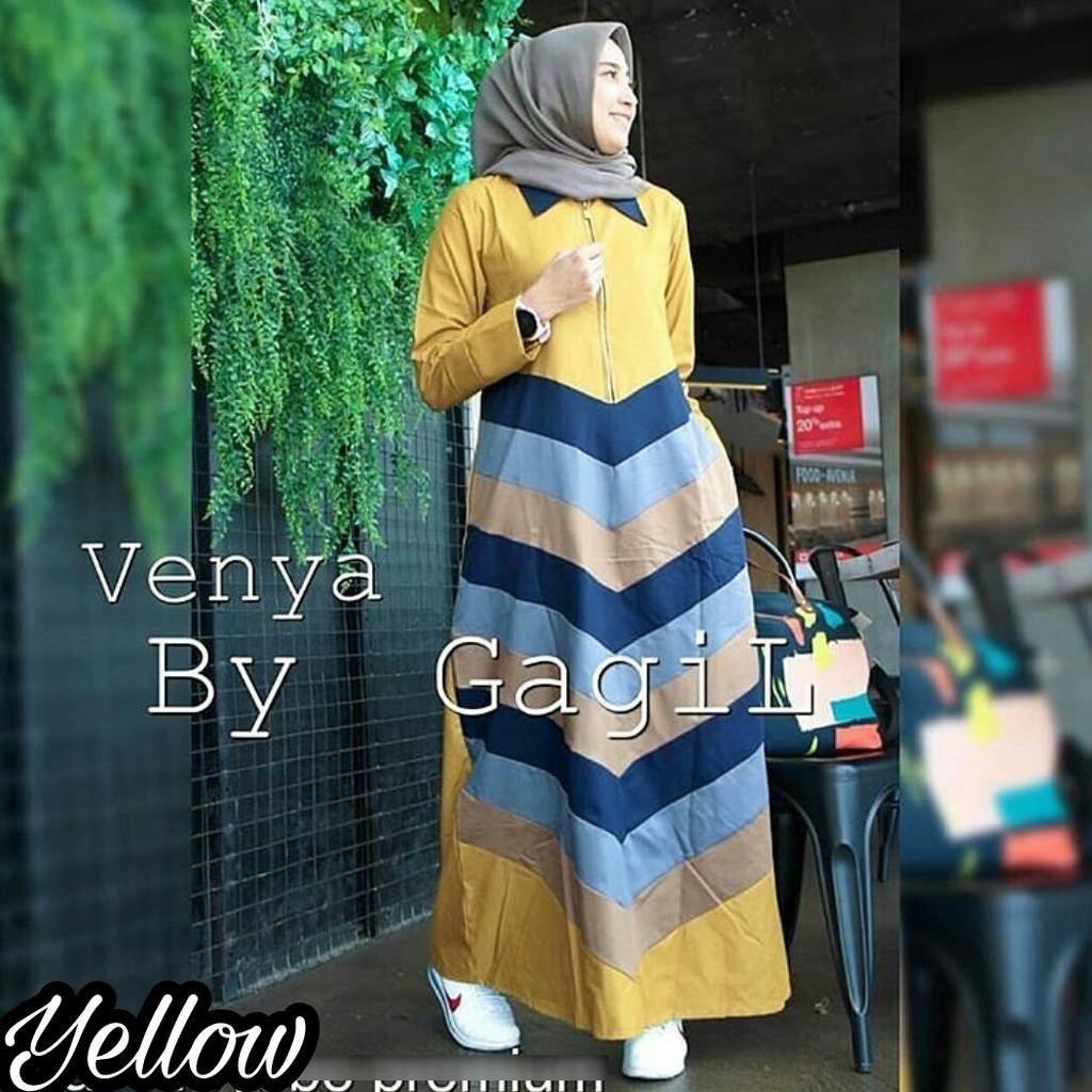 Venya Maxi / Gamis Hijab Murah Wanita / Maxy  Harga Grosir / Dress Pakaian Online / Busui Friendly Grey