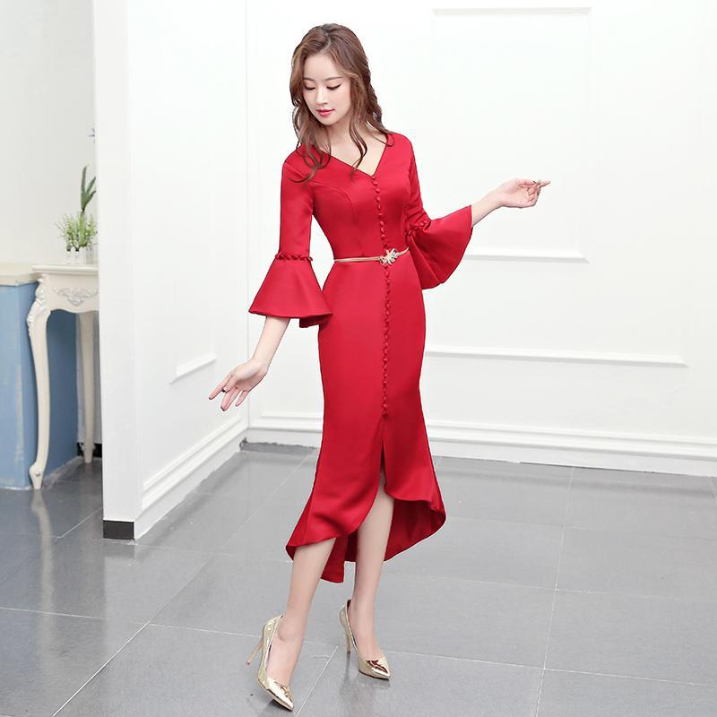 Elegan Perempuan Baru Perjamuan Gaun Kecil Gaun Malam (Arak Anggur Warna)