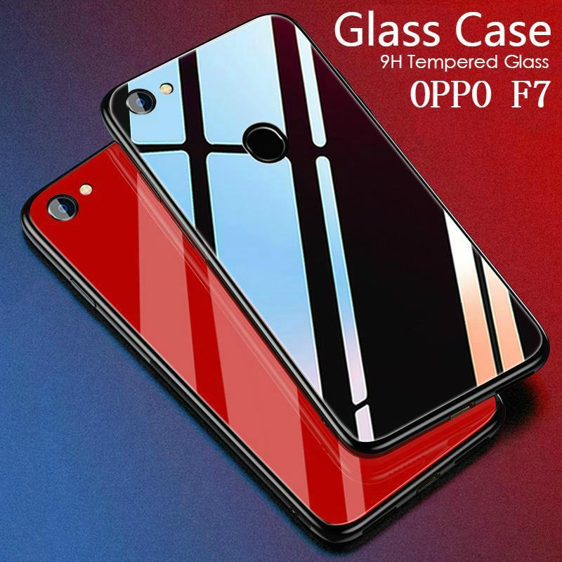 For Oppo F7 Glass Case HD Coverage Full Body Cover Tempered Glass Black cases For Oppo F7 Casing Shell