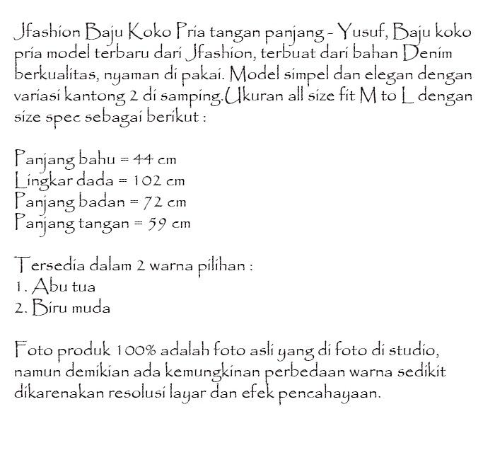 Spesifikasi dari Jfashion Baju Koko Pria tangan panjang - Yusuf Biru ef0e721968
