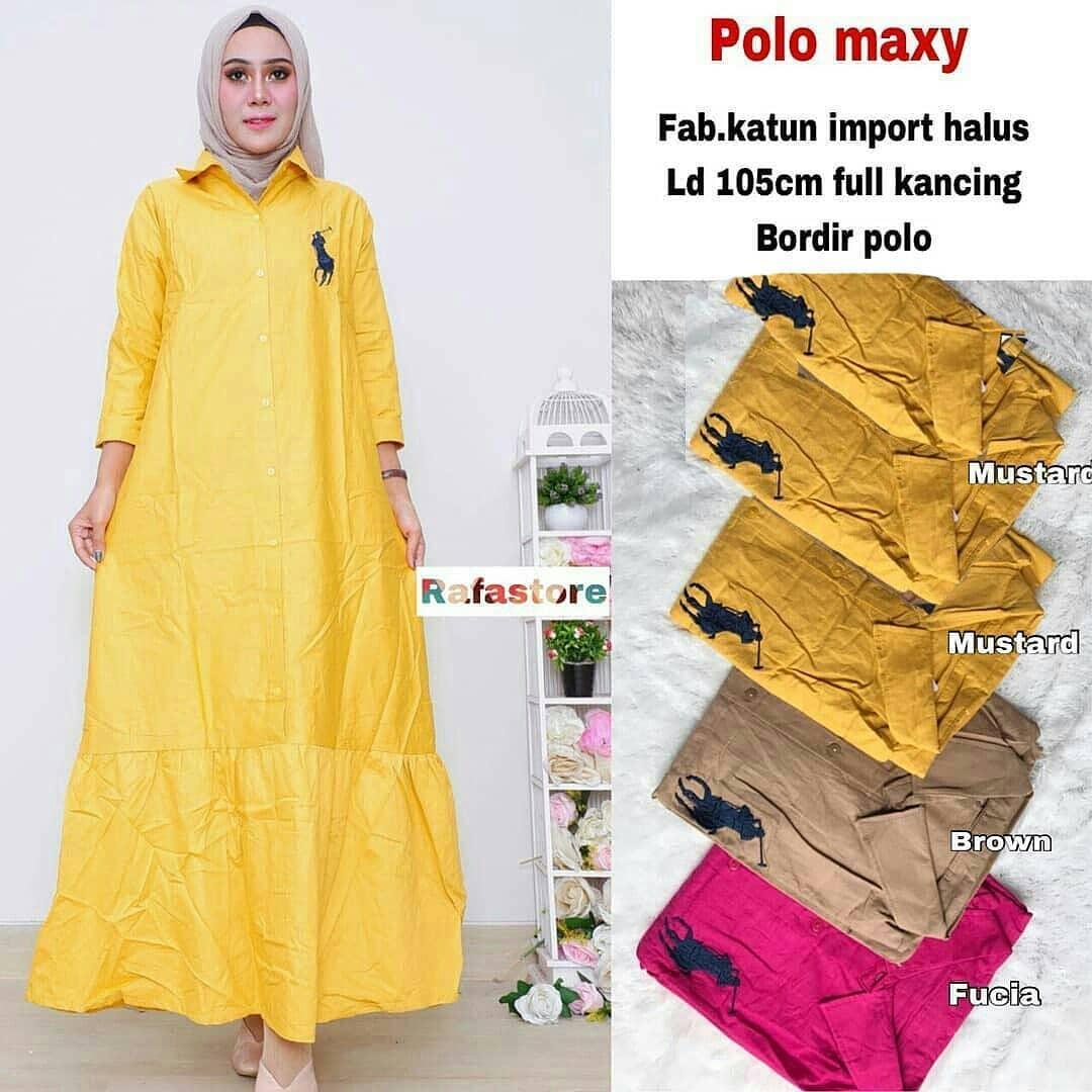 Baju Original Gamis Polo Maxy Dress Cotton Halus Pakaian Wanita Panjang Muslim Simple Casual Baju Hijab Syar'I Modern Baju Gaun Pesta Modis Trendy Baju Model Terbaru