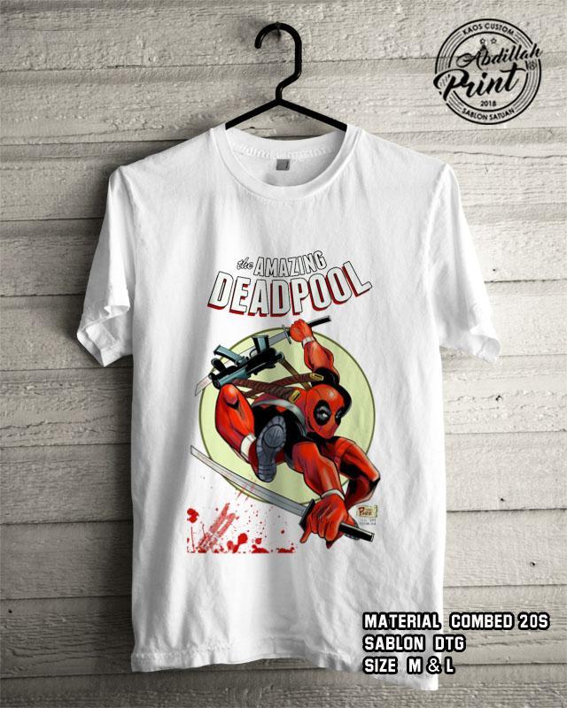 Kaos Distro Custom Design T Shirt Casual Atasan Pria Wanita Cotton Combed 20s Sablon DTG Quality Export - Superhero Marvel Dc - Deadpool Amazing - White