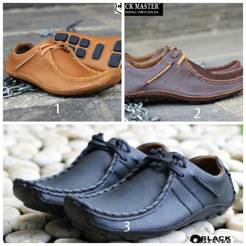 IS Sepatu Kerja Black Master Original Slop Tali Casual Formal Semi Kulit Premium Ferari Kickers Nike