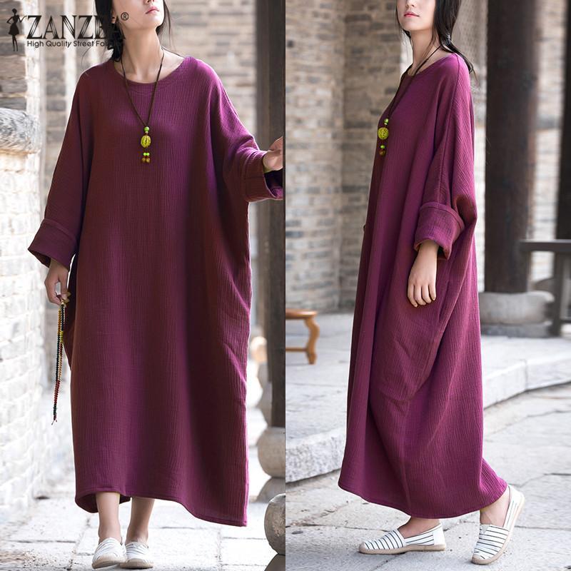 Zanzea Wanita Vintage Batwing Lengan Longgar Kaftan Kantong Panjang Maxi Sederhana Gaun Pesta Solid Vestido Plus Ukuran (Ungu) -Intl