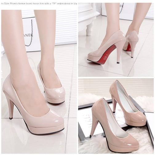 Sepatu Fashion Wanita SHHF1-Apricot High Heels Pesta Elegan Flat Wanita 10CM Batam Wanita