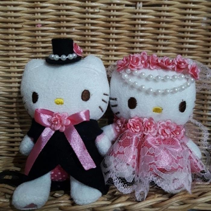 boneka hello kitty wedding hiasan pajangan kamar pengantin 5602 - hez1ec