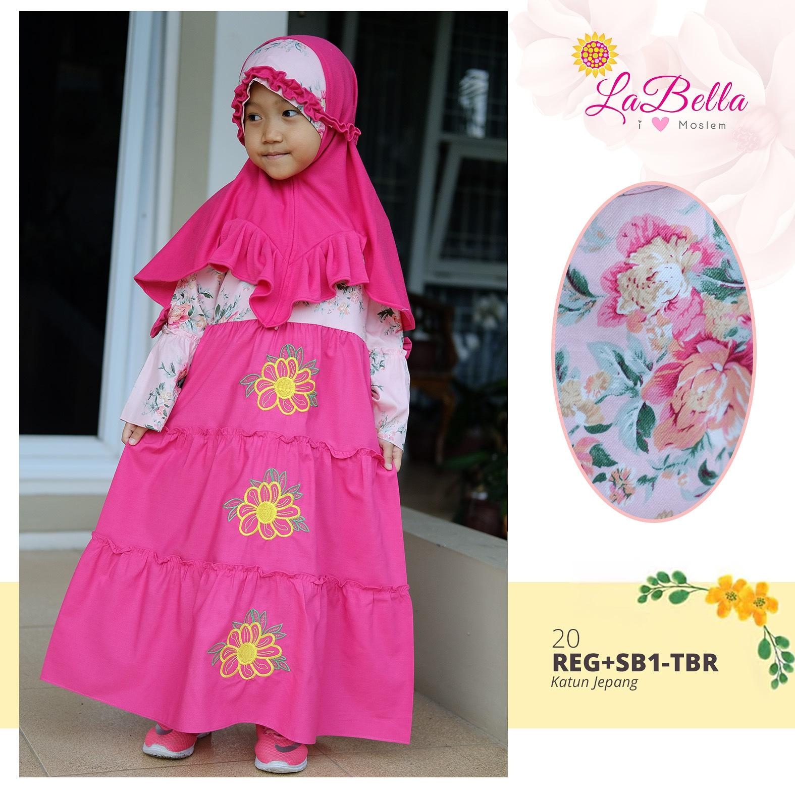 Gamis Anak LaBella 2-11th Katun Jepang Pink Bordir Bunga