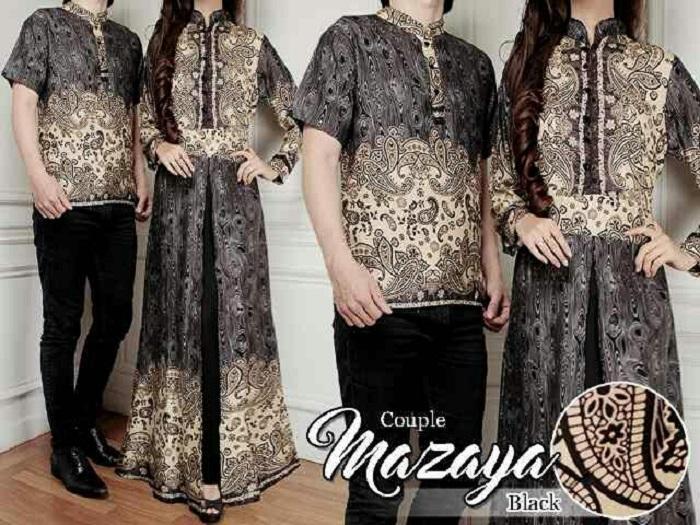 38 Cp Mazaya Black / Gamis Couple Batik / Katun Rayon / LD 98 / LD