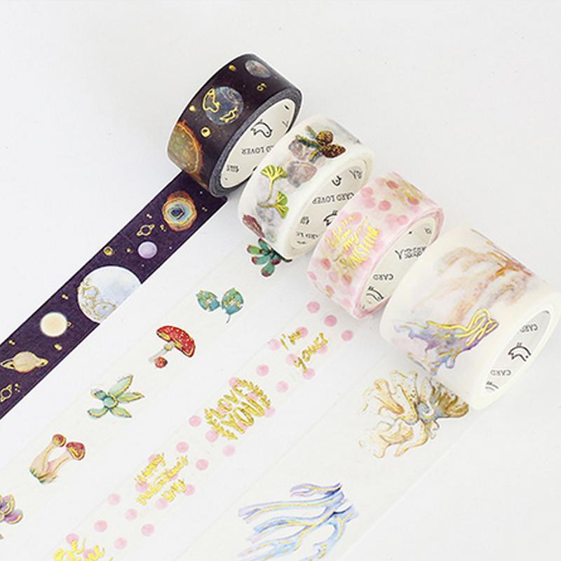 Mua 3rolls 1.5-4cm*5m Gilding Bird Plant Washi Tape DIY Decoration Scrapbooking Planner Masking Tape Adhesive Tape Kawaii Stationery - intl