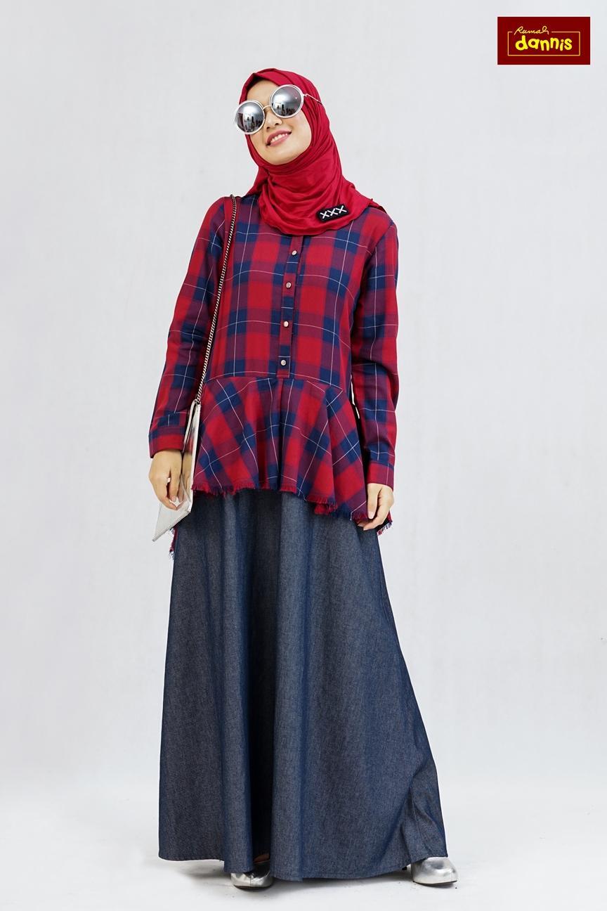 Abaya Dannis Baju Muslim Sarimbit Country Side - Merah Kotak Kotak