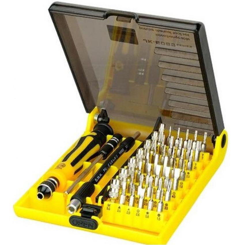 Jackly 45 in 1 Precision Screwdriver Professional Repair Tool Kit Obeng Set Peralatan Serbaguna JK-6089C s2447 - Yellow