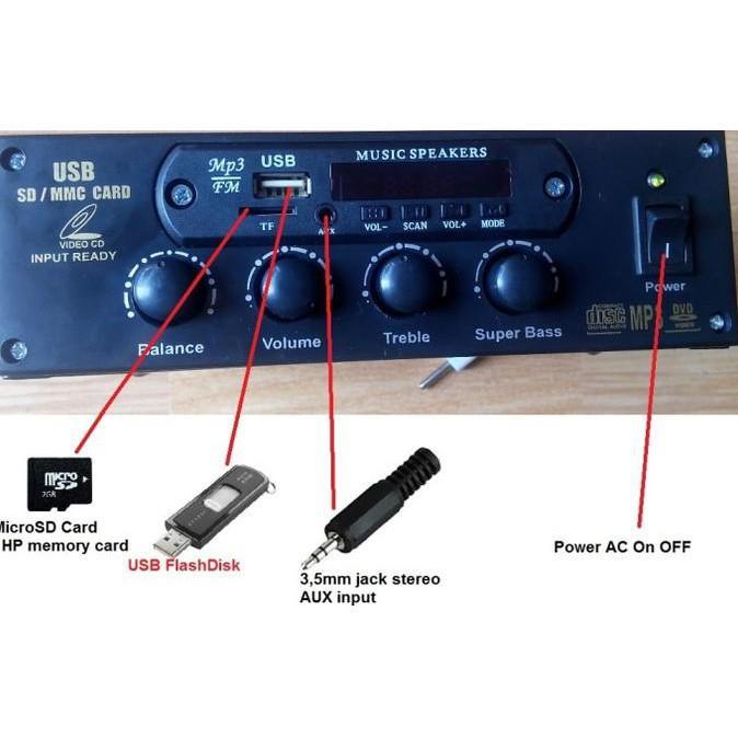 BEST SELLER Rakitan USB MP3 FM Player HI-FI Amplifier 220V