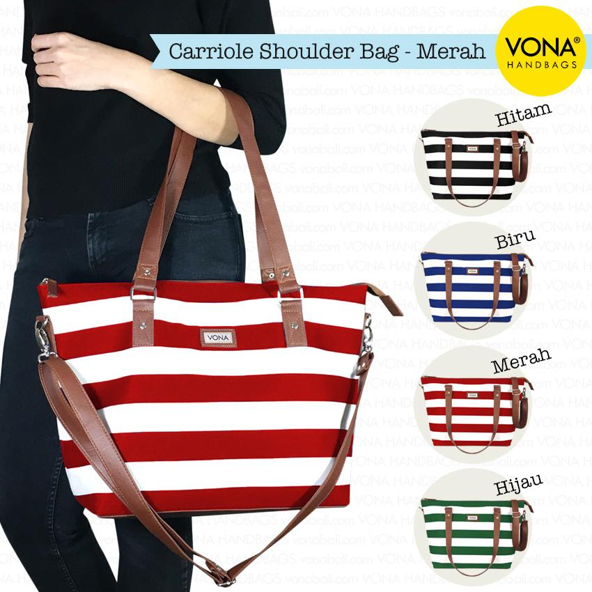VONA Carriole - Tas Selempang Bahu Shoulder Bag Tali Panjang Kanvas Nautical Stripe Garis Belang Blaster Putih Ringan Sling Handbag Wanita Remaja Cewek Ladies Women Best Seller New Branded Original Asli Korean Style Bali Fashion - Hitam Biru Merah Hijau