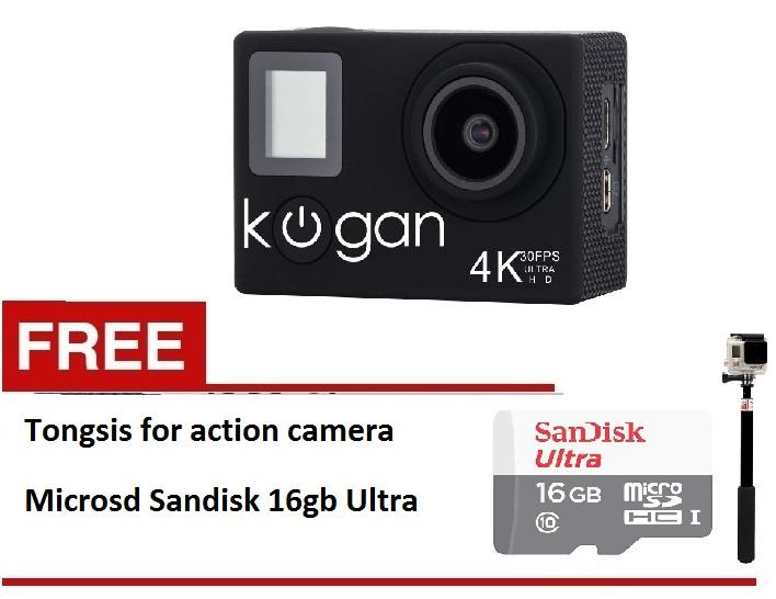Kogan Action Camera 4K NV UltraHD  16MP  Paket Lengkap   Hitam