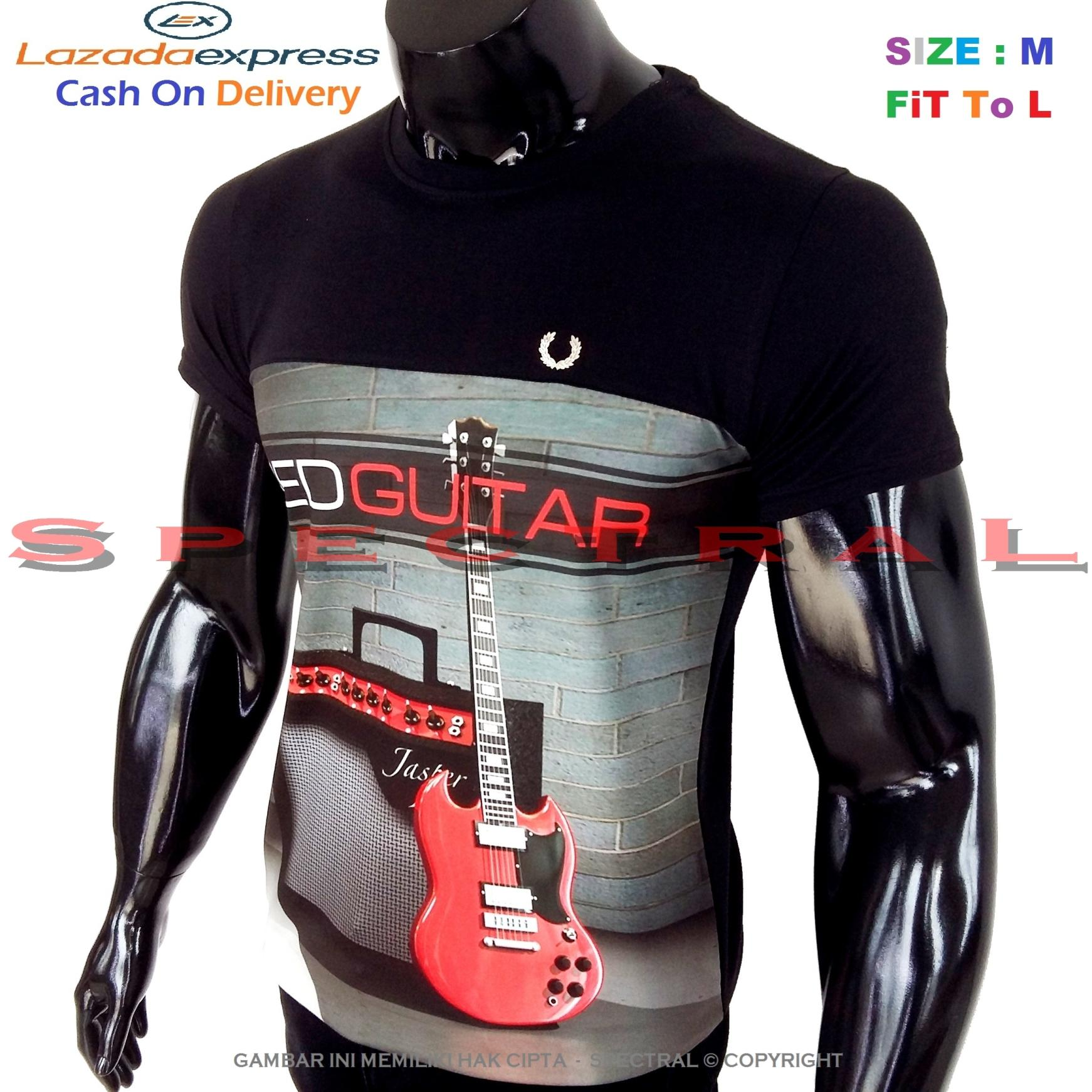 Spectral – 3D RED GUITAR Kualitas HD Printing Size M Fit To L Soft Rayon Viscose Kaos Distro Fash