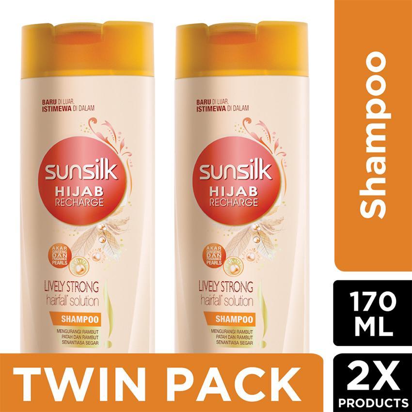 Sunsilk Hijab Recharge Shampoo Lively Strong Anti Hairfall 170Ml - twinpack