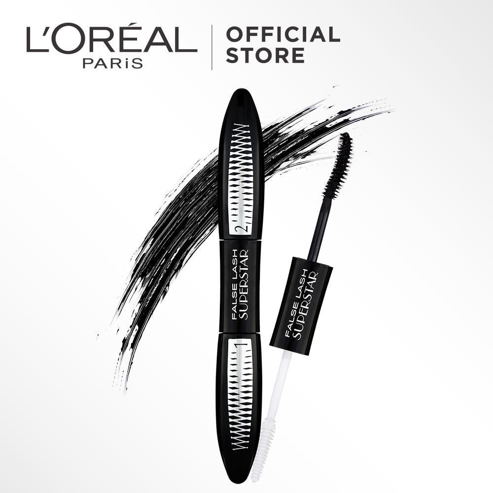 L'Oreal Paris Falsh Lash Superstar Mascara -  by L'Oreal Paris Makeup | Maskara Loreal Hitam  Tebal Panjang  2 in 1 Primer dan Top Coat