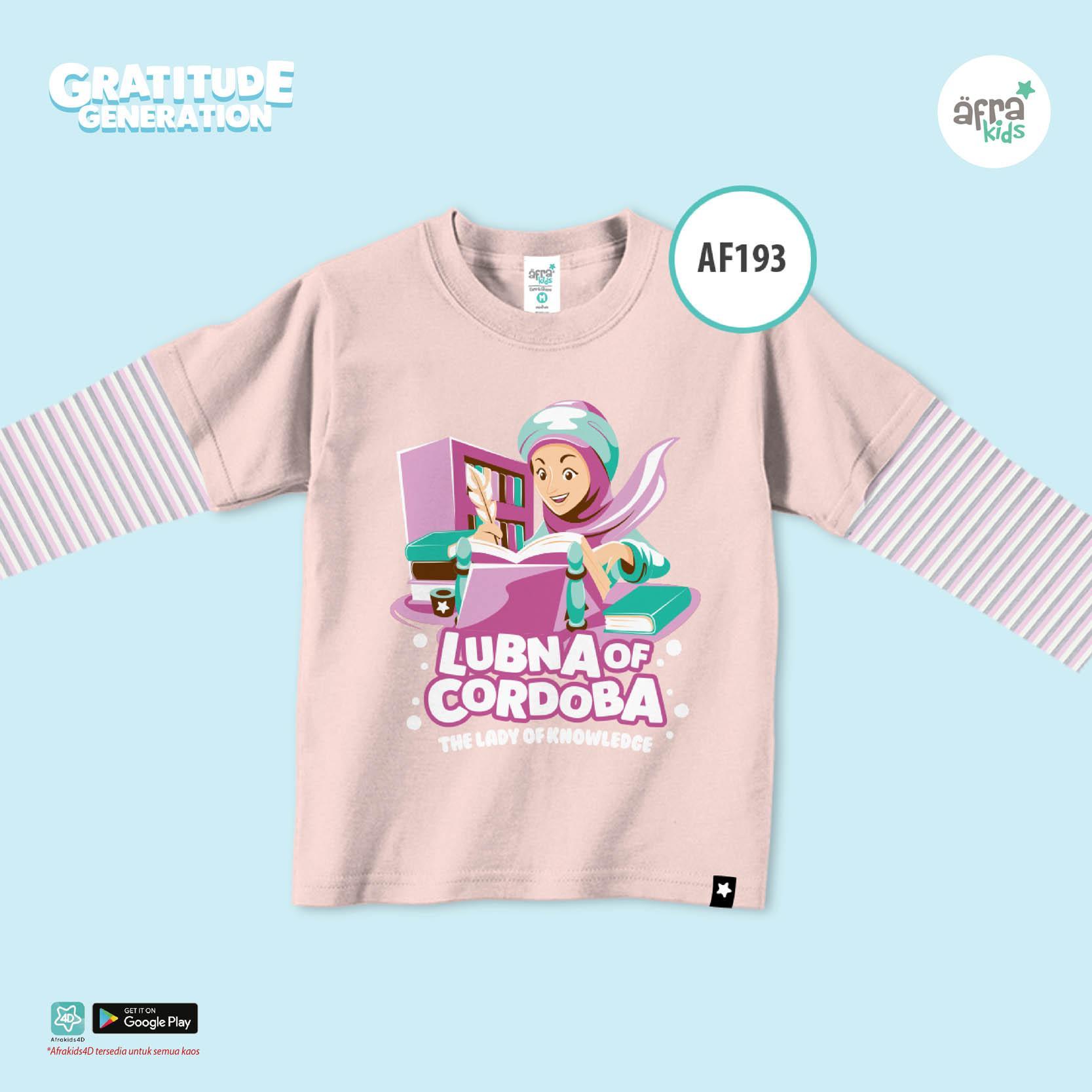 Aria Baju Kaos Anak Afrakids Seri Ilmuwan / Baju Kaos Anak Cewek / Baju Kaos Lengan Panjang Cewe perempuan / AF193 - Coklat Muda