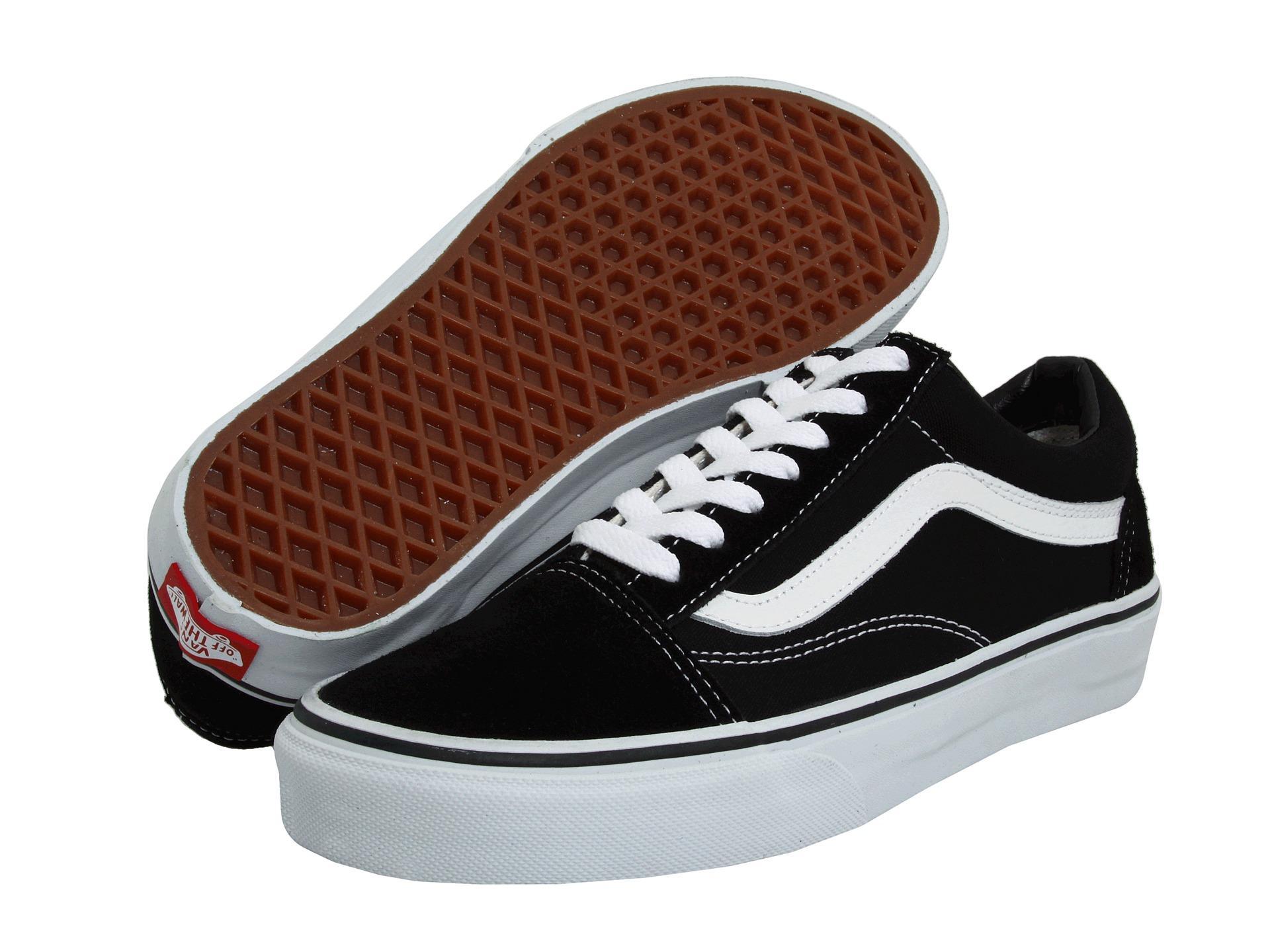 sepatu sneakers Vns old school  stret style unisex-hitam lis putih