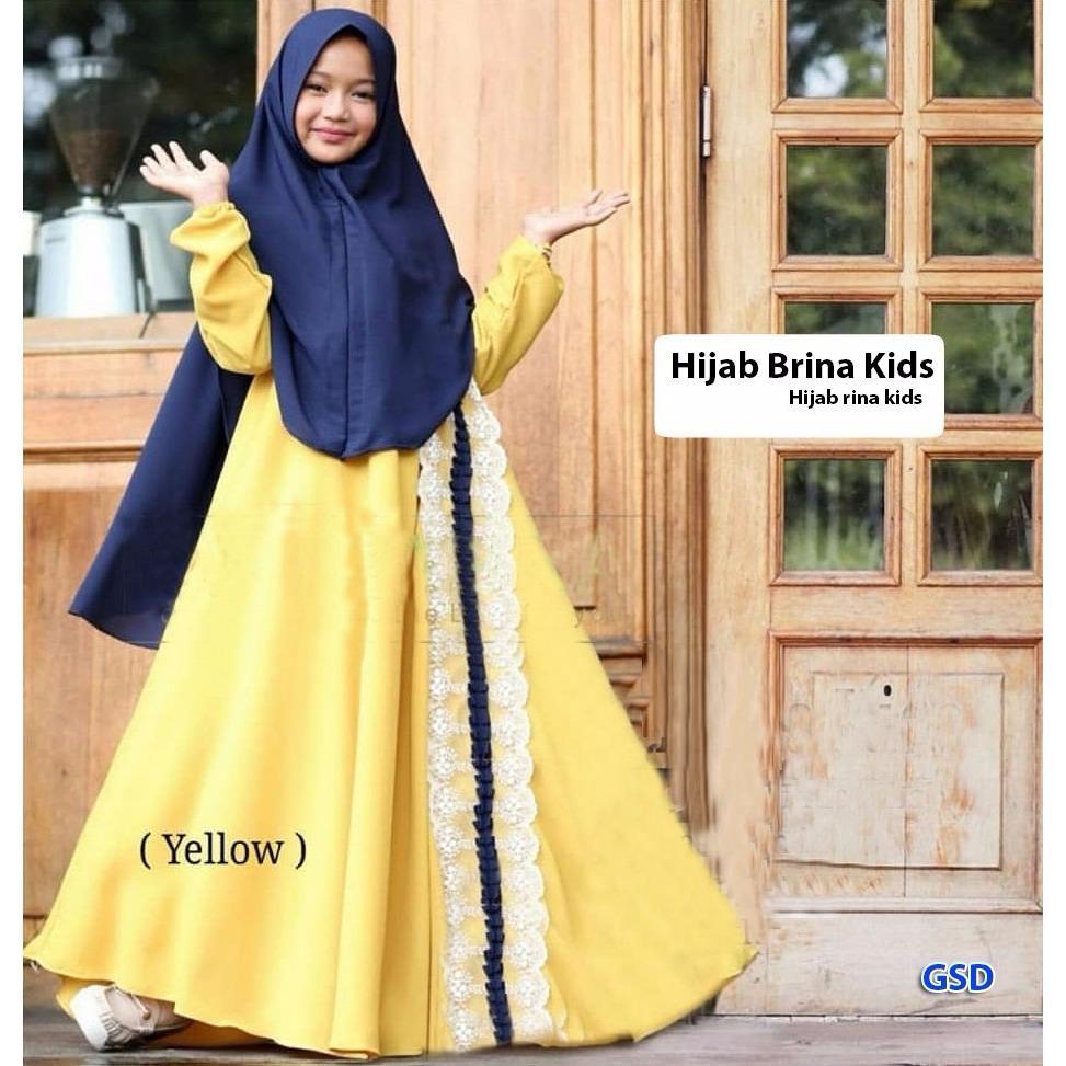 Wow keren - Busana muslim anak / gamis anak / maxi anak muslim / muslim anak anak / baju anak / dress anak / Set Brina.