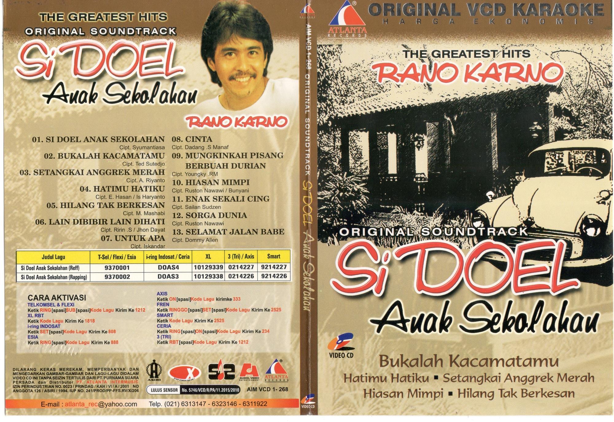 VCD KARAOKE ORIGINAL HARGA EKONOMIS THE GREATEST HITS RANO KARNO