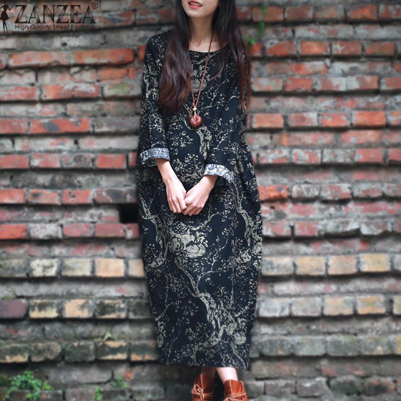 ZANZEA Wanita Lengan Panjang Kasual Longgar Floral Print Plus Panjang Kaos Kaftan Gaun Maxi (Navy)
