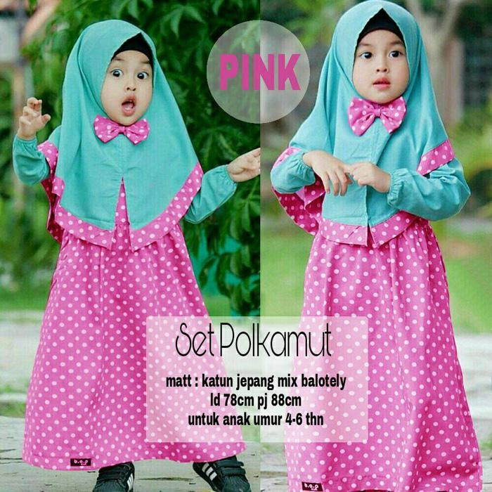 JUAL TERMURAH SET POPOY KID/Gamis Anak/Baju Muslim Anak/Set Polkamut