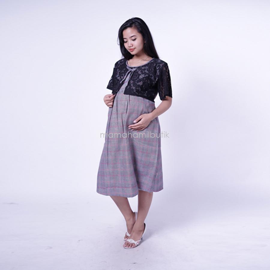 Ning Ayu Dress Hamil Brokat kotak Bluberry cantik - DRO 906 / Baju Hamil Kerja / Baju Hamil Modern / Baju Hamil Lucu /  Baju Hamil Modis/ Baju Hamil Murah / Baju Hamil Untuk Kerja /Baju Hamil Muslim / Baju Hamil Seksi