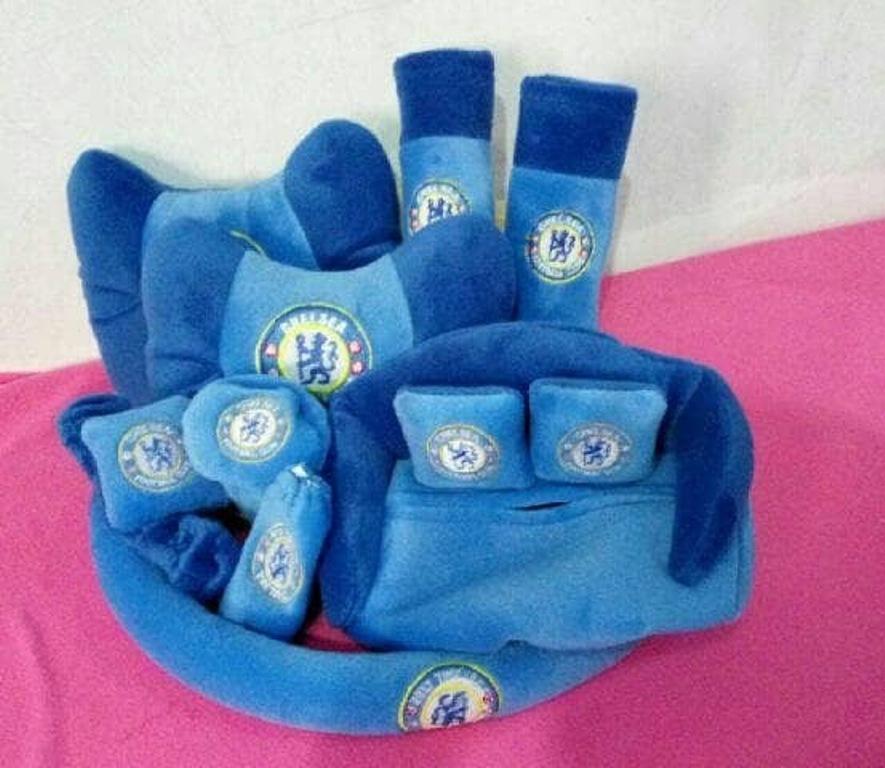 Bantal set mobil 7in1 model chelsea club warna biru / Aksesoris bantal set mobil 7 in 1 murah unik lucu UNIVERSAL / Tempat tissue chelsea club / sarung bantal mobil 9in1 warna blue