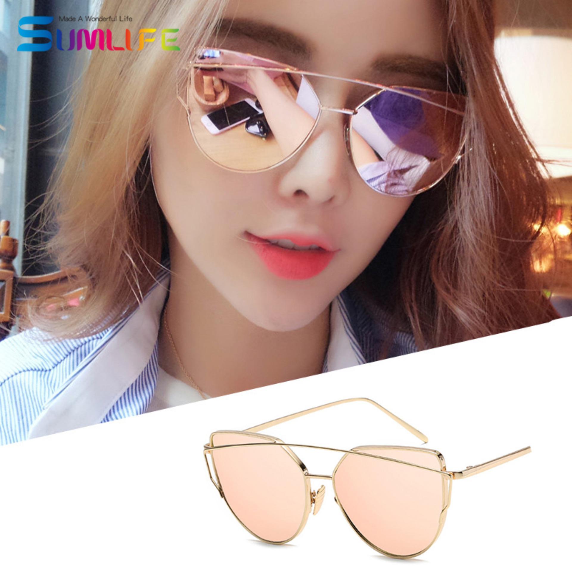 Fashion Baru Logam Warna Film Kacamata Pria dan Women Retro Style Sunglasses-Emas Bingkai Rose Bubuk Emas-Intl