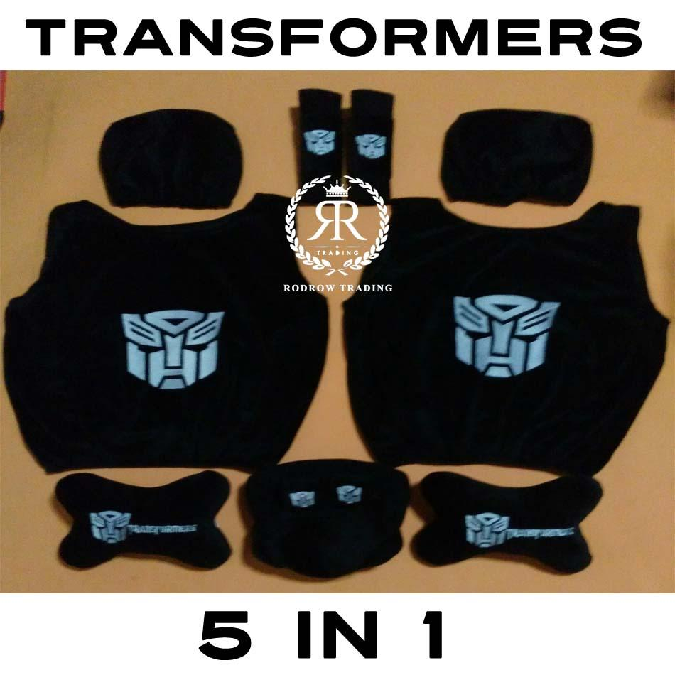 Sarung Jok Mobil Transformers set 5 in 1/ Bantal Mobil Transformers set 5 in 1