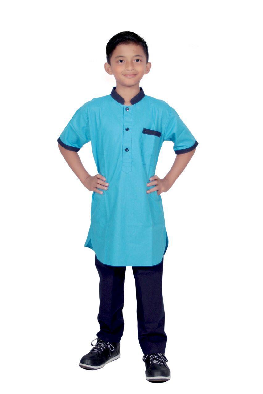Setelan baju koko Anak pria lengan pendek- umur 1-12 tahun-Kode E02-biru muda