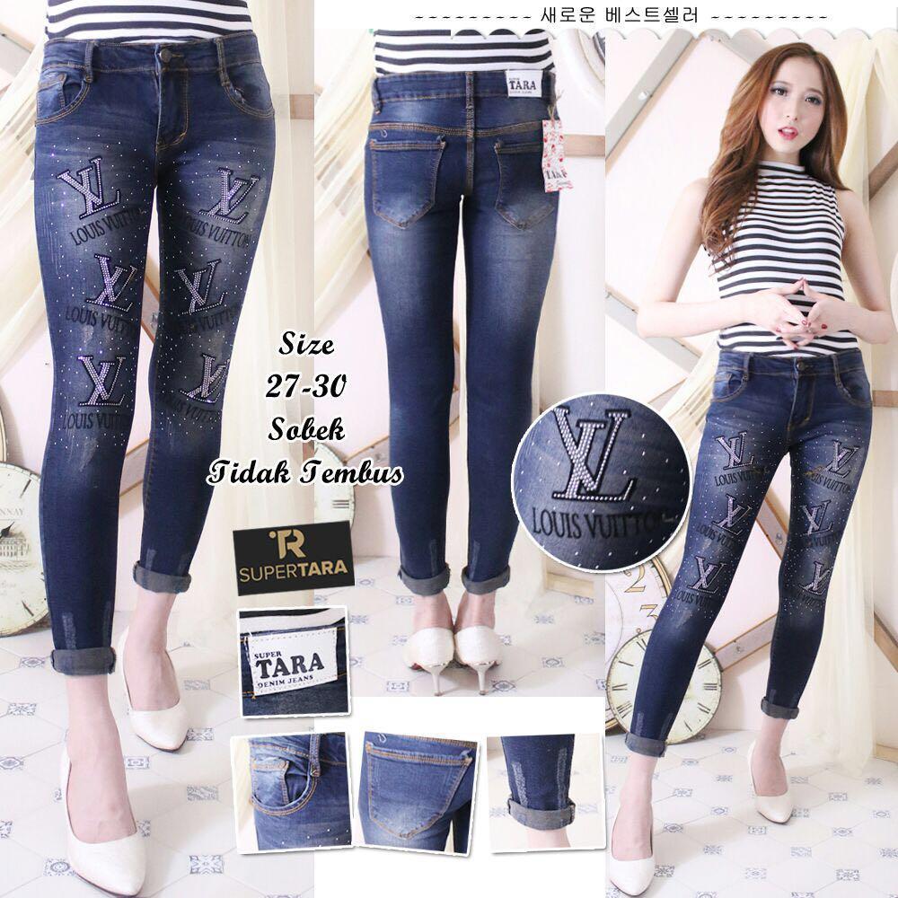 JHF jeans ripeed wanita motif LV