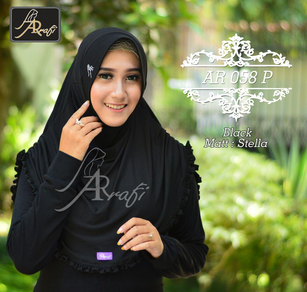jilbab instan Rumana Rempel Arrafi (warna Hitam) - AR58p - hijab kerudung khimar bergo scarf baju muslim blouse dress kemeja pakaian fashion gamis wanita