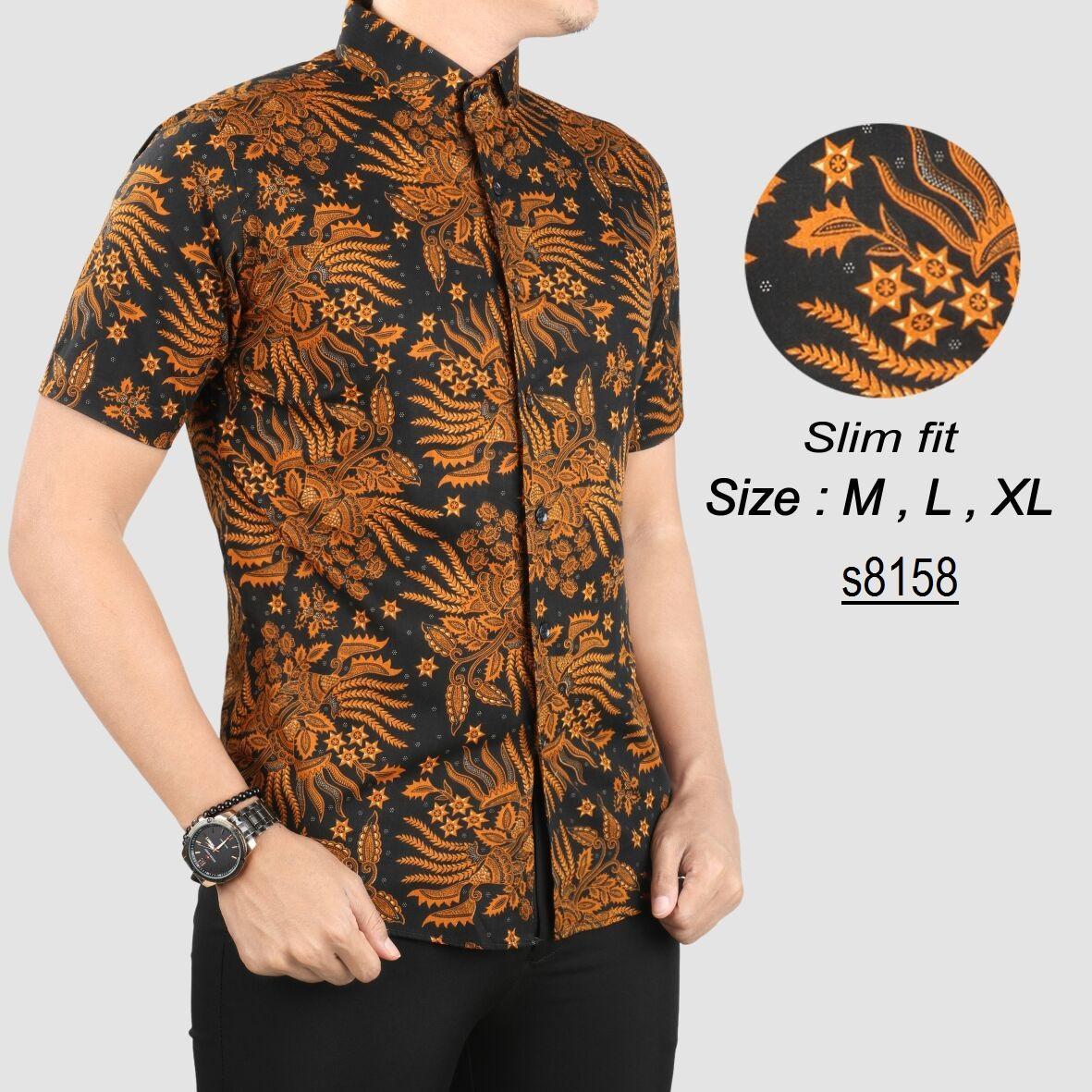 Baju Batik Modern Kemeja Pria Slim fit WaW