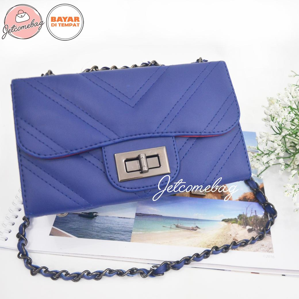 Tas Wanita Termurah Slempang Chanel Chevron Blue Navy Terbaru Branded - JETCOMEBAG