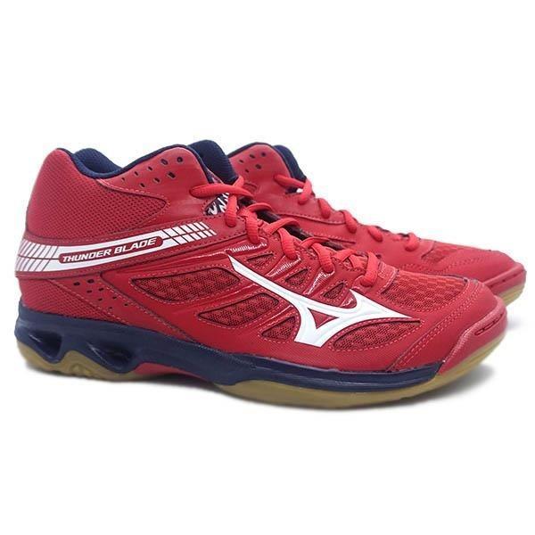 Sepatu voli Mizuno V1GA187507THUNDER BLADE MID - MARS RED   WHITE   DRESS BLUES