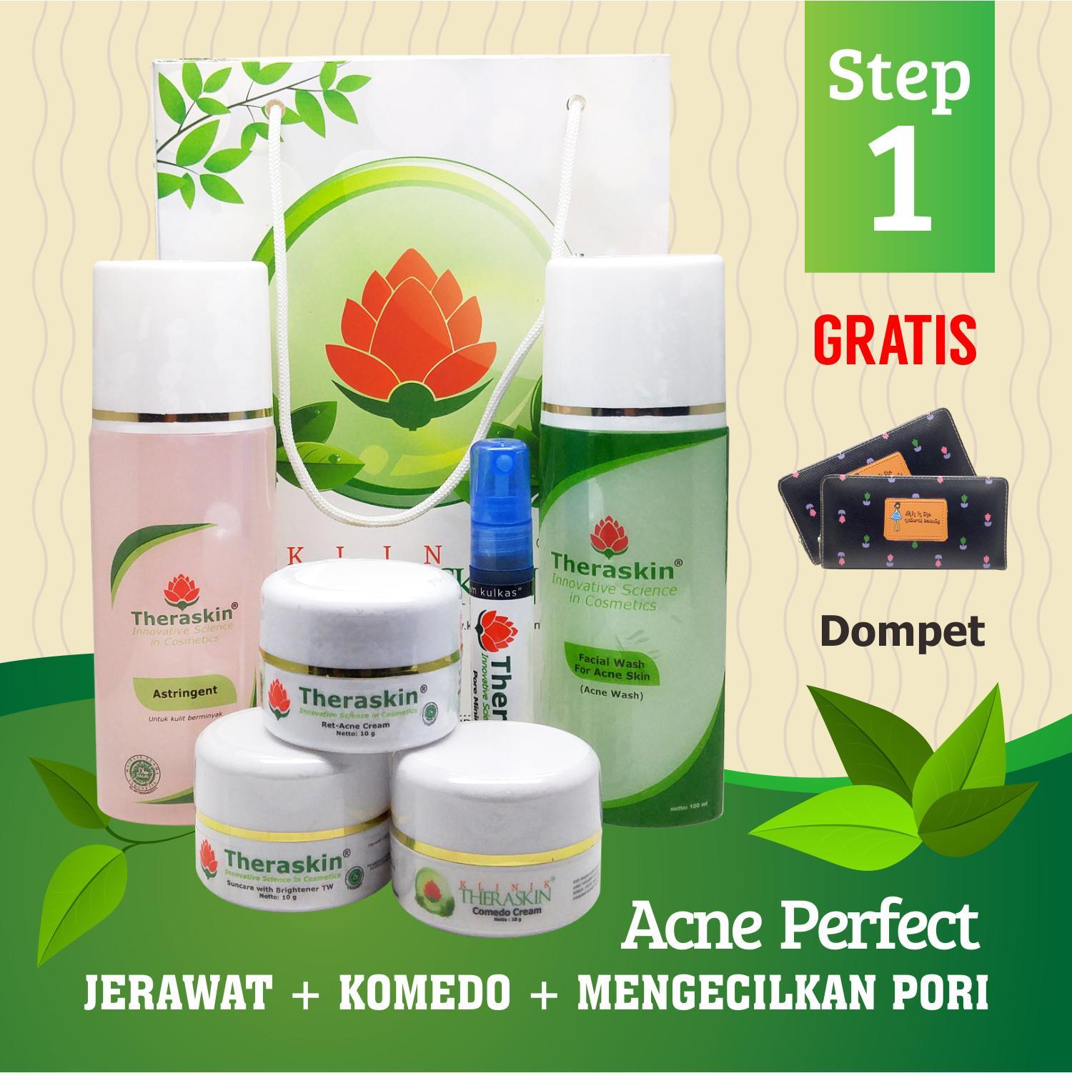 Theraskin Acne Perfect Step 1 / Paket Theraskin Jerawat + Komedo + Mengecilkan Pori - Pori + Gratis Dompet