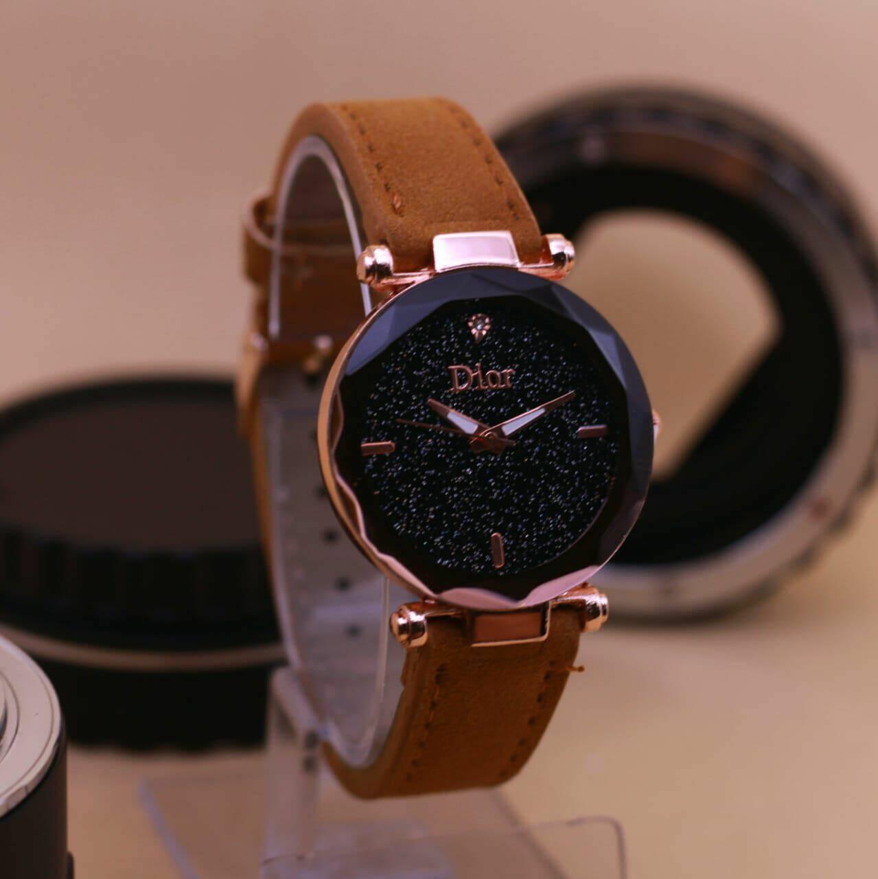 jam tangan wanita Dior Premium Quality tali kulit DR-8175