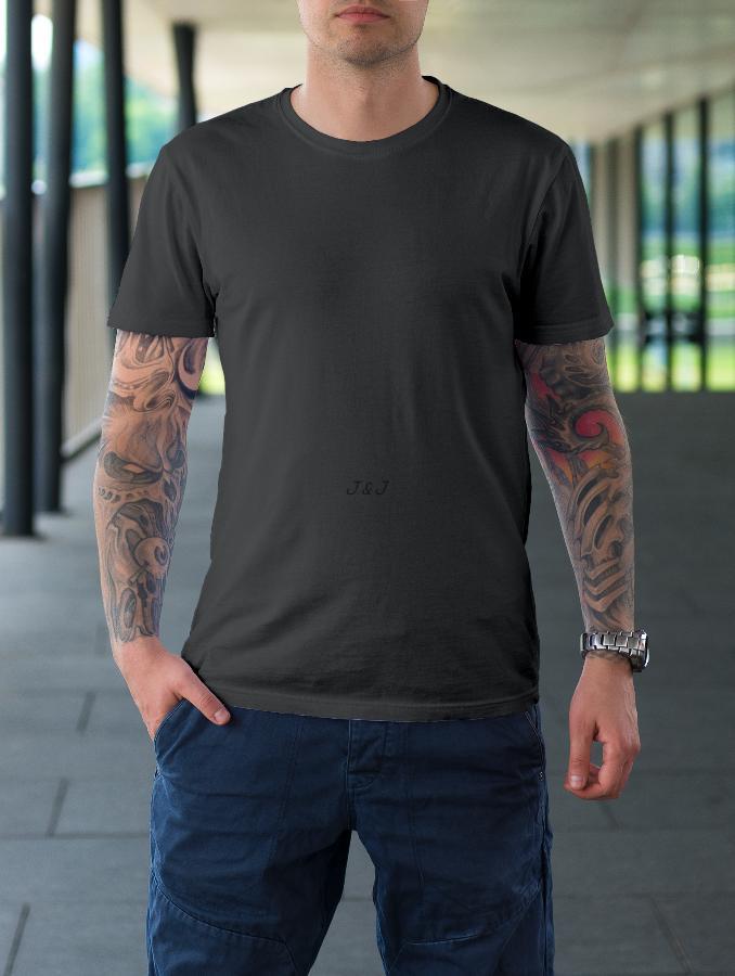 Jual Kaos Polos Pria Cotton Abu Tua XL - 4XL Big Size Jumbo