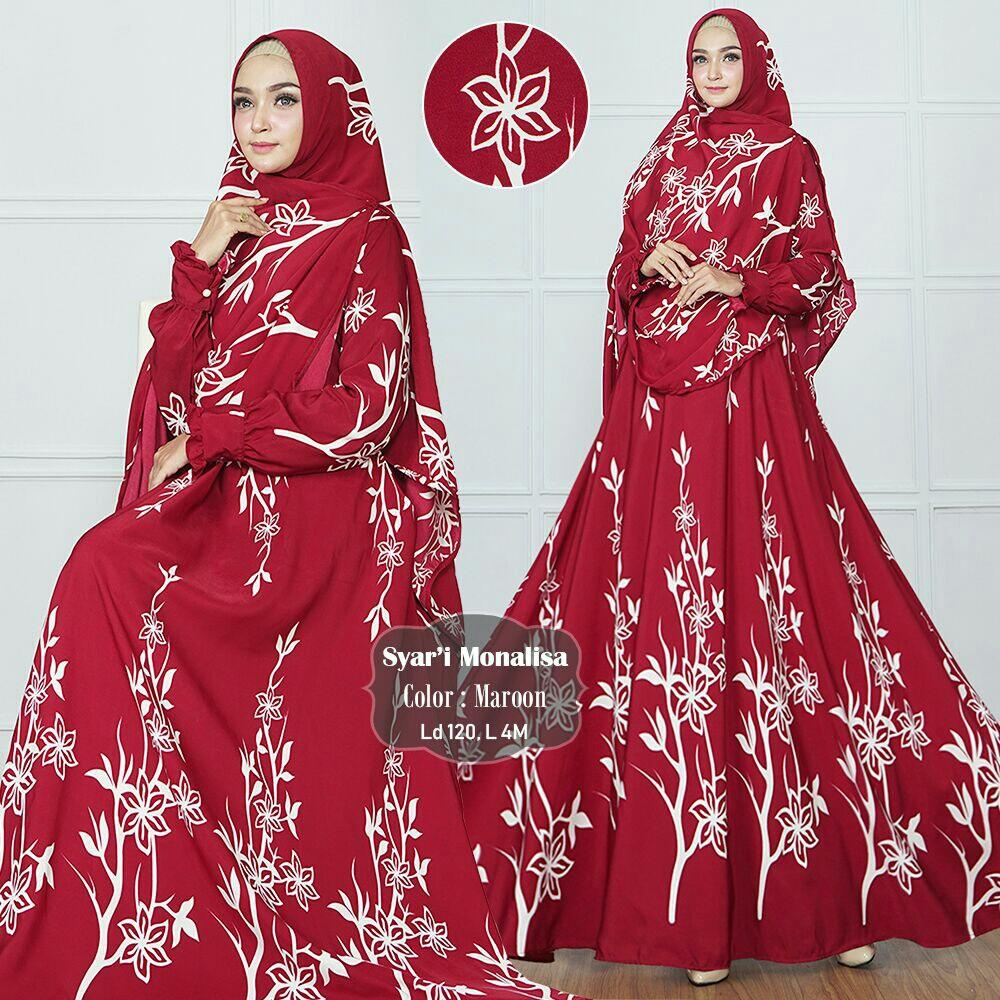 ZASKIA FASHION PAKAIAN MUSLIM WANITA MOTIF BUNGA, LONG DRESS MUSLIM GAMIS MURAH DRESS PANJANG WANITA MOCCA