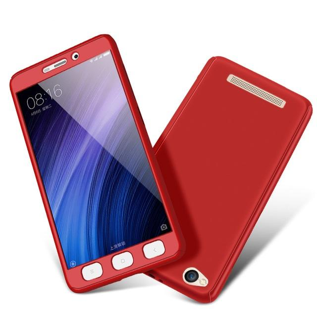Hardcase Case 360 Xiaomi Redmi 5A Fullset Casing Free Tempered Glass - MERAH