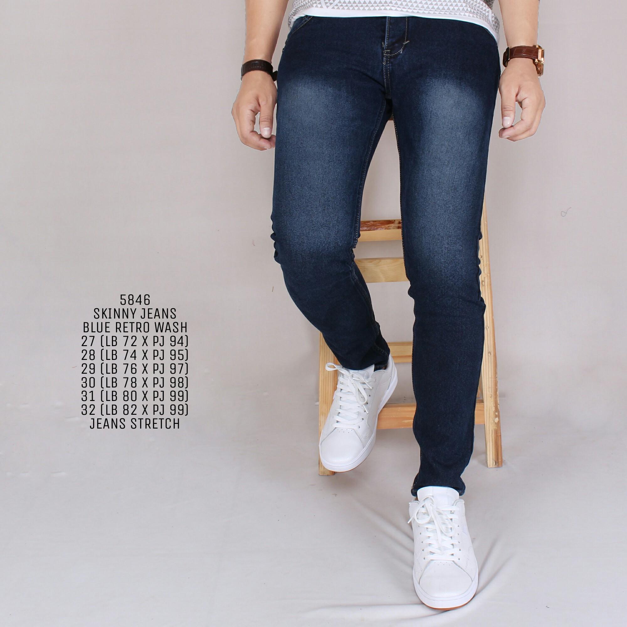 Zoeystore 5846 Celena Jeans Panjang Pria Celana Jeans Skinny Cowok Washing Blue Cut Rips Celana Jeans Slimfit Denim