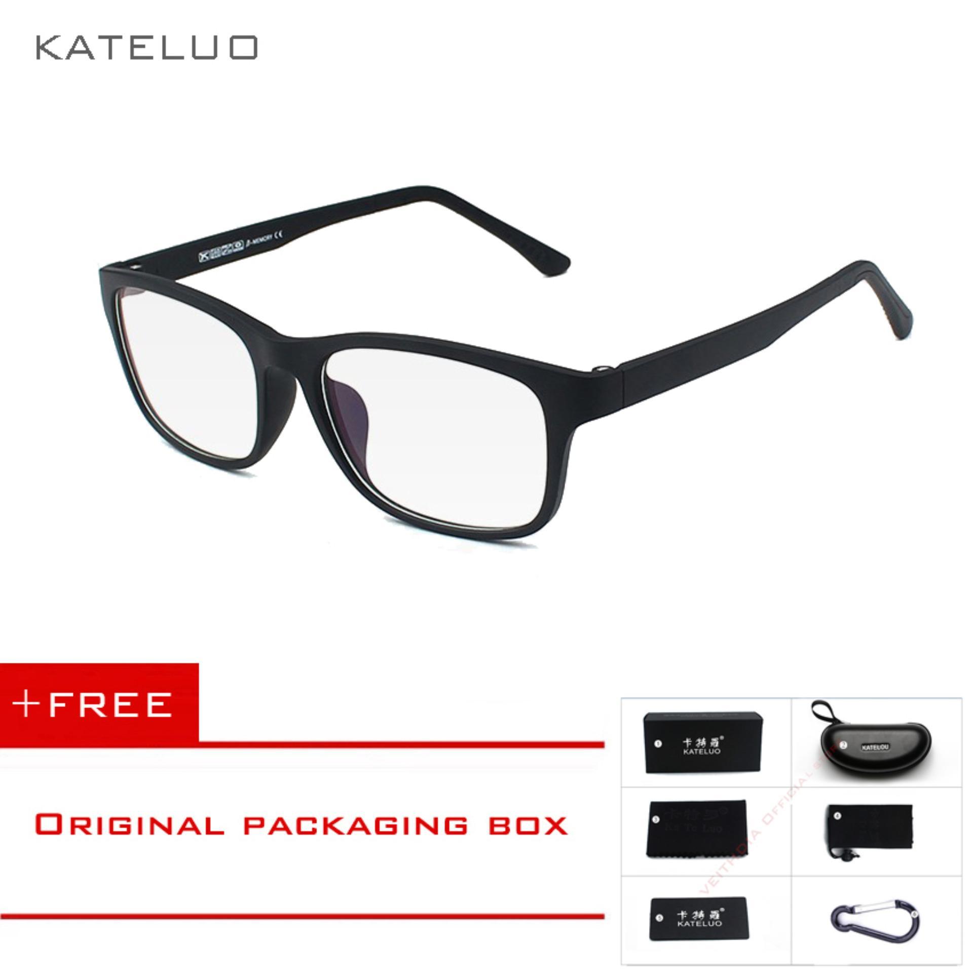 KATELUO Kacamata Komputer Anti Lelah TR90 Tahan Radiasi Bingkai Oculos di Grau de 9219 (Hitam) (Beli 1 Gratis Hadiah)