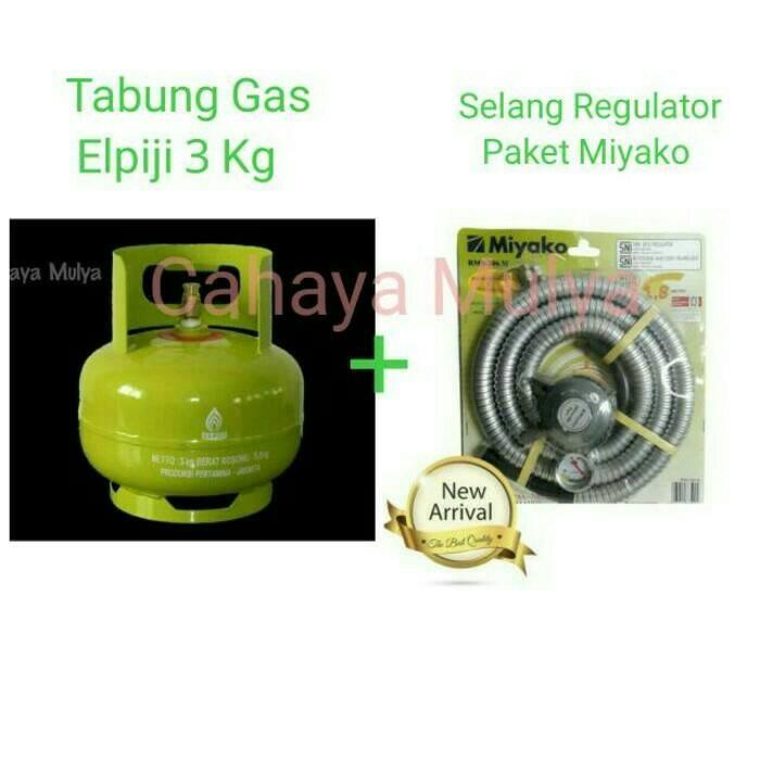 Tabung Gas Elpiji 3 Kg Isi Penuh + Selang Regulator Paket Miyako 1-8 M