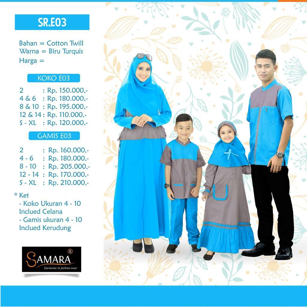 Baju Couple Keluarga Busana Muslim Branded Sarimbit Samaan Gamis Syari Koko Pria Anak Lebaran SAMARA Gamis Ibu M