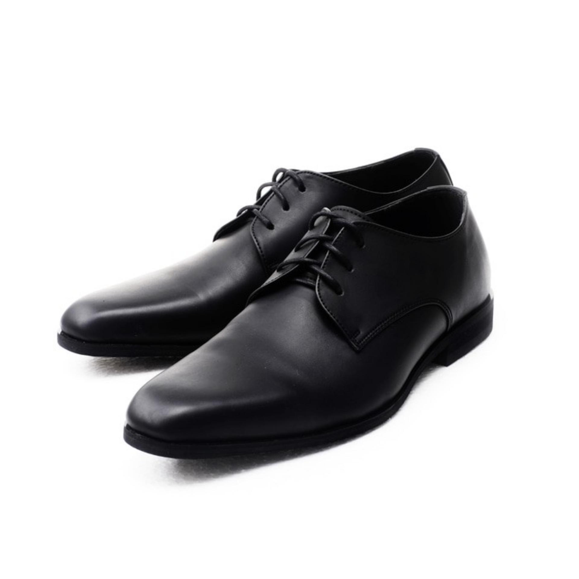Sepatu Kerja Pria Kantor Pantofel Kulit Sintetis Model Tali - Black