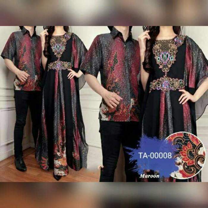 (JNH Shop)    TA-00008 Couple Anna Kaftan Mewah Baju Pasangan Sarimbit Batik Khasana