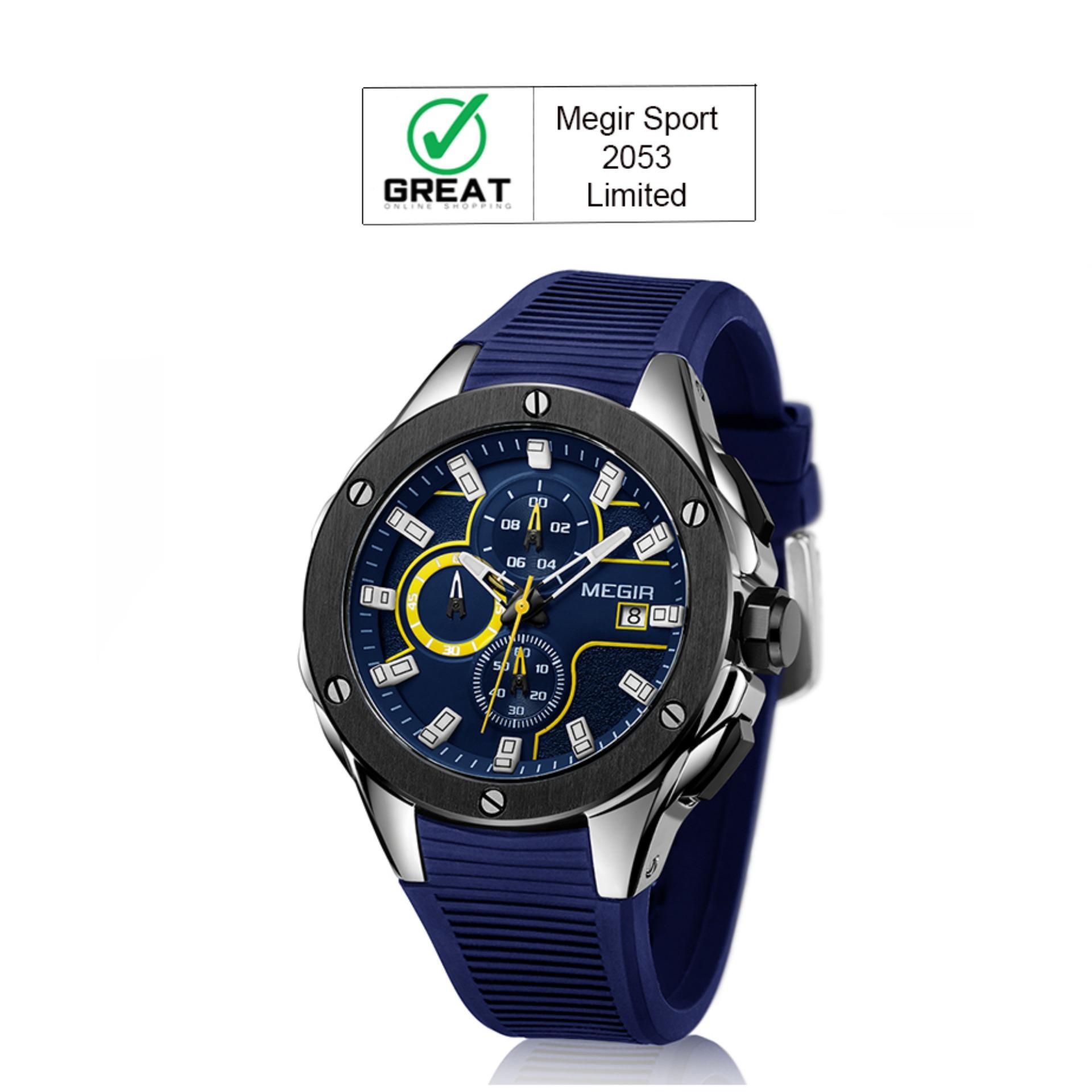 MEGIR MN2053G Jam Tangan Pria Sport Watch Chronograph Tali Silikon Kuarsa Jam Tangan Army Militer Anti Air - Biru