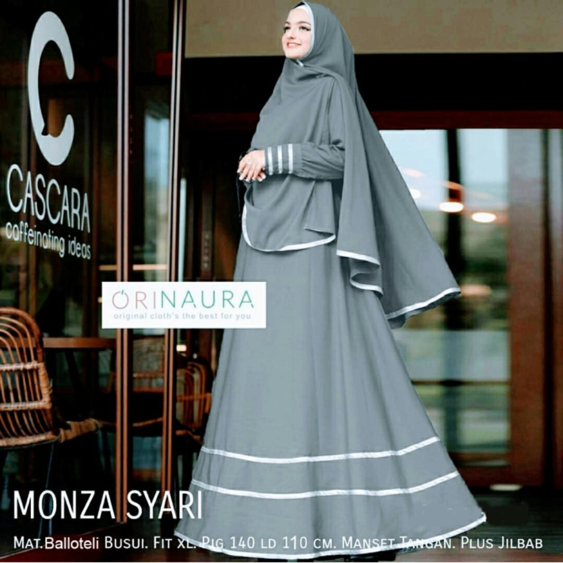 Dress Gamis MONZA SYARII BALOTELI DRESS MUSLIM PAKAIAN HAJI LEBARAN GROSIR TANAH ABANG